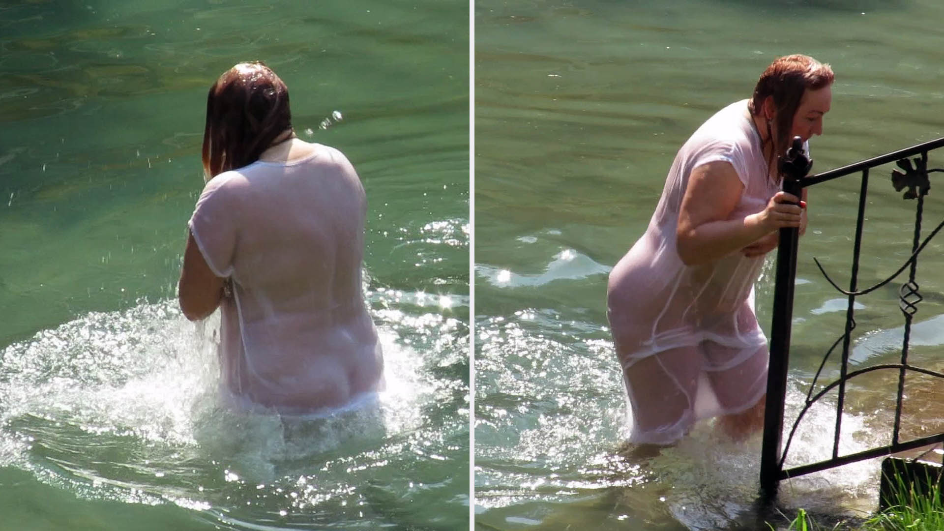 She plunges into cold water