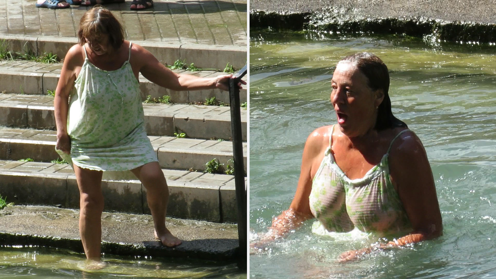 Woman plinges into water and shows boobs